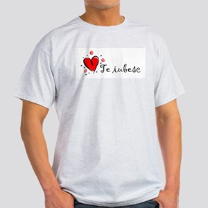 """I Love You"" [Romanian] Ash Grey T-Shirt"